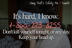 REPIN  or just share the suicide hotline number with your followers. And if you are suicidal, please call this number.  Other resources in the US: IMAlive offers services through IM if you have phone anxiety (https://www.imalive.org/) Depression Hotline:1-630-482-9696 LifeLine:1-800-273-8255 Trevor Project:1-866-488-7386 Rape and SexualAssault:1-800-656-4673 Eating Disorders:1-847-831-3438 Runaway:1-800-843-5200, 1-800-843-5678, 1-800-621-4000