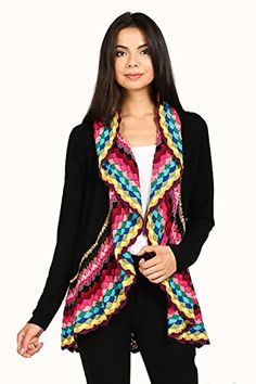 waterfall cardigan Colorful Plaid Crochet Accent Trim Open Cardigan  Endless Envy #Waterfall #cardigan #Sweater #Boutique #Love #Cute #ootd #fwny