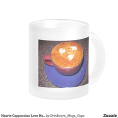 Hearts Cappuccino Love Heart Get Well Miss You 10 Oz Frosted Glass Coffee Mug