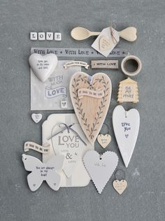 """East of India porcelain butterflies and hearts. Leaf patterned edge heart """"It had to be you"""""""