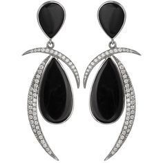 Jorge Adeler 14KT White Gold, Black Onyx and Diamond Earrings (9,220 CAD) ❤ liked on Polyvore featuring jewelry, earrings, jewels, diamond stud earrings, pear diamond earrings, diamond earrings, black onyx dangle earrings and white gold dangle earrings