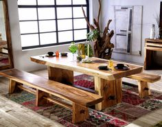 love the benches Dining Table With Bench, Dining Room Table, Kitchen Dining, Living Room Nook, Living Room Decor, Indoor Outdoor Furniture, Wood Furniture, Home Decor, Benches