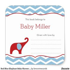 Red Blue Elephant Baby Shower Bookplate labels, boy