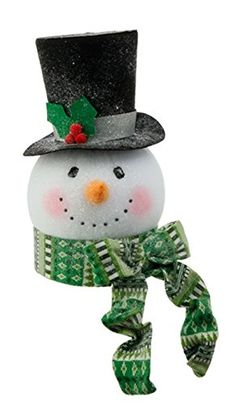 RAZ Imports - Tinsle Tangle - Snowman Head Ornaments/Decoration/Tree Topper (Green Scarf) ** Click image to get this special deal : Christmas Tree Toppers Christmas 2016, Christmas Themes, Christmas Crafts, Christmas Decorations, Christmas Ornaments, Amai, Christmas Tree Toppers, Weaving Techniques, Tangled