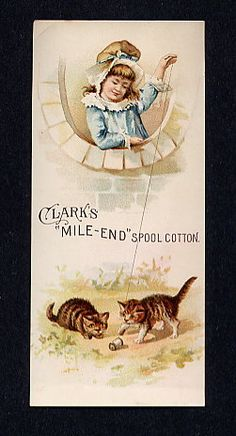 thread Advertising Trade card Clark's kittens