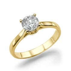 14K Yellow Gold Ring Engagement Diamond Ring by DiamondsMine, $790.00