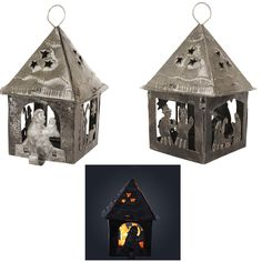 Haitian Recycled Steel Nativity Candle Holder