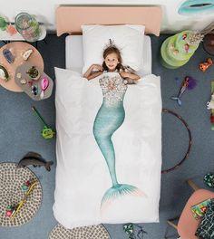 Snurk® dekbedovertrek zeemeermin. Ideaal voor in een meisjes kinderkamer. Voor een prachtig en meisjesachtig slaapkamer interieur.