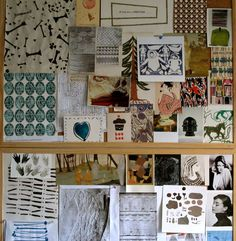 Image above:The notice board in our studio holds a lot of inspiration! The images get changed around fairly regularly and often make up a mood board for my current projects.