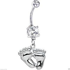 Inspiration Dezigns Belly Button Navel Curved Barbell Ring Pirate Anchor Dangle Surgical Steel 14G