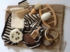 HEURISTIC SENSORY TREASURE basket bag  natural collection set bath gift baby shower. £23.50, via Etsy.