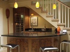 curved bar under stairs - Google Search