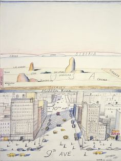 Saul Steinberg -View of the World from 9th Avenue - 1975 - Crayon and graphite on paper.