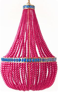 Hot Pink Painted Bead Chandelier