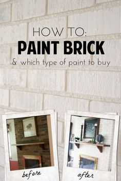 Home Remodeling Tips Tired of that red brick in your home? Here are some tips on painting it! - Learn how to paint brick, including which types of paint to use. Painting a brick fireplace is an inexpensive and easy way to brighten a room. Fireplace Update, Brick Fireplace Makeover, Diy Fireplace, Painting A Fireplace, How To Paint Fireplace, Fireplace Modern, Painting Brick Interior, How To Paint Brick, Brick Fireplace Remodel
