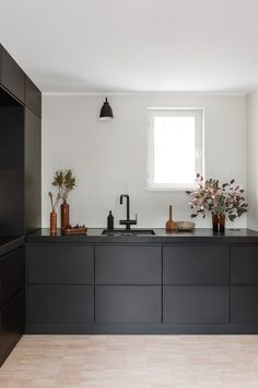 Design trend 2019 black kitchen countertop 00025 ~ Home Decoration Inspiration Updated Kitchen, New Kitchen, Black Kitchens, Home Kitchens, Black Ikea Kitchen, Custom Kitchens, Modern Kitchens, Kitchen Furniture, Kitchen Interior
