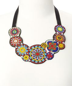 Red & Yellow Beaded-Circle Bib Necklace
