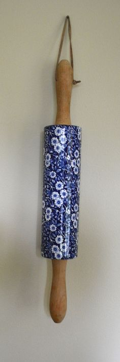 Rare! Blue English Ironstone Calico Chintz Transferware Rolling Pin Wo
