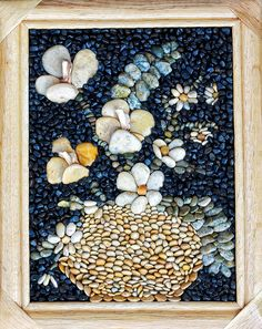 "Items similar to Mosaic Pebble Art, Original Mosaic Wall picture, Unique Gift picture, Home decor, Flowers from sea pebbles ""Spring mood"" Wooden frame on Etsy Sea Glass Mosaic, Mosaic Rocks, Pebble Mosaic, Fish Wall Art, Mosaic Wall Art, Pebble Painting, Stone Painting, Pebble Color, Valentines Art"