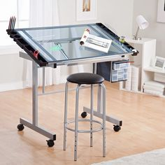 5ab141130078 Studio Designs Glass Top 2-Piece Vision Rolling Drafting Table - Drafting   Drawing  Tables