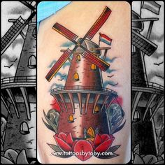 tattoosbytoby:  Love doing Dutch themed tattoos! More please! info@tattoosbytoby.com #amsterdam #holland #windmill #dutchwindmill #tattoos  Toby Gawler