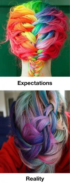 "Rainbow Hair: | 28 People Who Definitely Totally ""Nailed It"" Makeup brushes and best cosmetics on my site here: www.crazymakeupideas.com"