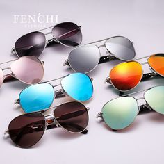 e40dcd3076 Fenchi 2017 sunglasses women metal hot rays glasses driver pilot mirror  fashion men design new colourful