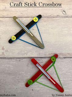 How to Make a Craft Stick Crossbow | Nanny Anita | My Baba Popsicle Stick Crafts, Popsicle Sticks, Craft Stick Crafts, Crafts For Kids, Arts And Crafts, Diy Crafts, Craft Sticks, Gun Art, Pirate Theme