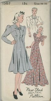 An unused original ca. 1940's New York Pattern 1367.  Ladies' and Misses' Princess dress in three styles.  Slip-on evenign dress with square neck, Street length dress with draped yoke at front, with or without cross-over scarf, hook and eye closing or loops and buttons; Long sleeves plaited at top, perforated for short and three-quarter length, also short sleeves with gathers at top.  Width at lower edge of evening length 5-1/2 yards.
