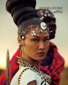 Wang Xiao by Yin Chao for Harper's Bazaar China November 2013, fashion editorial, masai