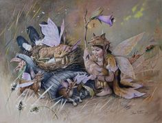Fairy playing with her fairy foxes around a glove. Coloured pencil on paper by…