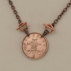 British Coin Necklace 1971 Two New Pence by donnakbaker on Etsy