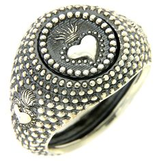 Silver ring votive heart engraving