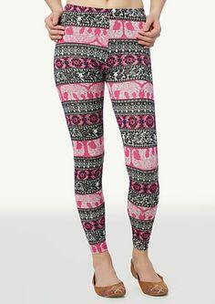 image of Elephant Paisley Leggings(pink,white,black,pretty)