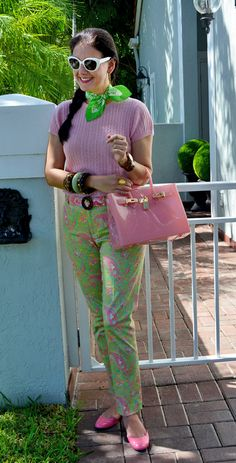 Enjoying the last moments of summer with a pink & lime green outfit in today's blog: http://www.akeytothearmoire.com/post/130057221360/pink-paisley #paisley #preppy #pink #lime green #Beachkin #Vera Bradley #Ralph Lauren #Lilly Pulitzer #White Sunglasses #Talbots #JORD watch