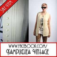 Vintage Cream Button-Down Mini Dress Top Shirt sz8 - 90s Indie Grunge FREE P BUY IT NOW £11