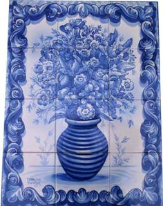 Hand-painted azulejos tiles in Tavira Portugal Mosaic Glass, Mosaic Tiles, Tavira Portugal, Tile Murals, Portuguese Tiles, Style Tile, Lost Art, Delft, Floor Rugs