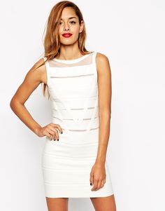 Image 1 of ASOS Body-Conscious Dress In Structured Knit With Mesh Insert