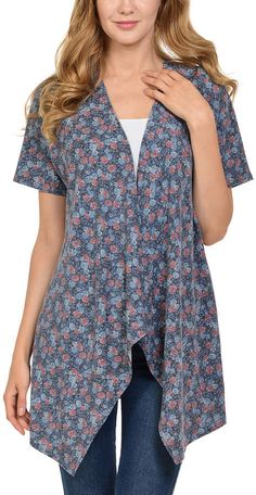 $4.79 Blue Ditsy Floral Sidetail French Terry Open Cardigan #affiliate