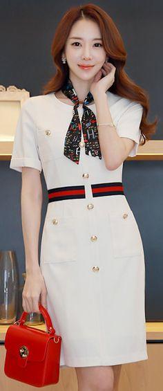 StyleOnme_Gold Button Waist Line Detail Fitted Dress #white #dress #elegant #koreanfashion #kstyle #kfashion #dailylook #seoul #feminine #springtrend