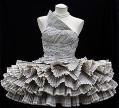 phone book dress.  Requires scotchgard
