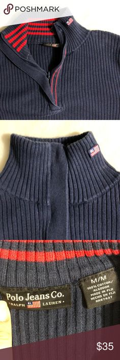 "POLO JEANS RALPH LAUREN Ribbed Turtleneck Pullover Excellent used condition.  Can be zipped up to be a turtleneck sweater or zipped down to be a regular sweater pullover.   📍100% Cotton   📌Measurements (approx and taken while item is laying flat):  Armpit to armpit 14.5""  Length 22"" (shoulder to hem)   🚫No trades ✨We are a smoke and pet-free home. Polo by Ralph Lauren Sweaters Cowl & Turtlenecks"