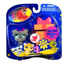 """Hasbro Year 2009 Littlest Pet Shop Portable Pets """"Special Edition Pet - Happiest"""" Series Collectible Bobble Head Pet Figure Set #1006 - Gray Schnauzer Puppy Dog with Gift Box (92725) by Hasbro, http://www.amazon.com/dp/B0054S1WOG/ref=cm_sw_r_pi_dp_Hjmxqb0FMYBQQ"""
