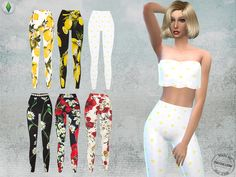 6 different high waisted skinny pants with lemon,poppy and daisy print.  Found in TSR Category 'Sims 4 Female Everyday'