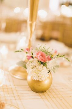 Glamorous Pink and Gold Maryland Wedding from Sincereli Photography - wedding centerpiece idea