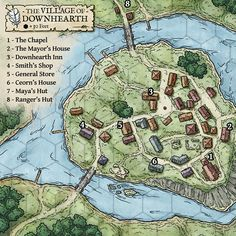 Urban village DownHearth River Island Road n-sw by Matthias Rothenaicher is an illustrator and concept artist based in Bavaria, Germany. Fantasy Map Making, Fantasy City Map, Fantasy Village, Fantasy Town, Fantasy World Map, Fantasy Rpg, Medieval Fantasy, Dungeons And Dragons 5e, Dungeons And Dragons Homebrew