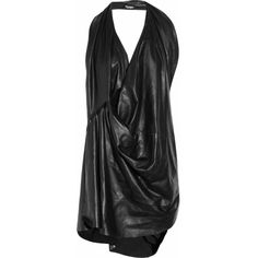 1c12f1ed68f7 Junya Watanabe Draped leather playsuit (€535) ❤ liked on Polyvore featuring  jumpsuits