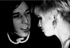 Edie Sedgwick with Bobby Neuwirth, Bob Dylan's friend and road manager