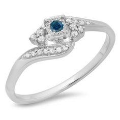 Share for $20 off your purchase of $100 or more! 0.20 Carat (ctw) 14K White Gold Round Blue & White Diamond Ladies Twisted Swirl Promise Engagement Ring 1/5 CT - Dazzling Rock #https://www.pinterest.com/dazzlingrock/