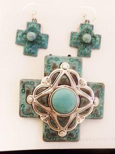 Fancy Faux Turquoise Cross Pendant Earrings Silver Tone Set #IconCollection #PendantEarrings